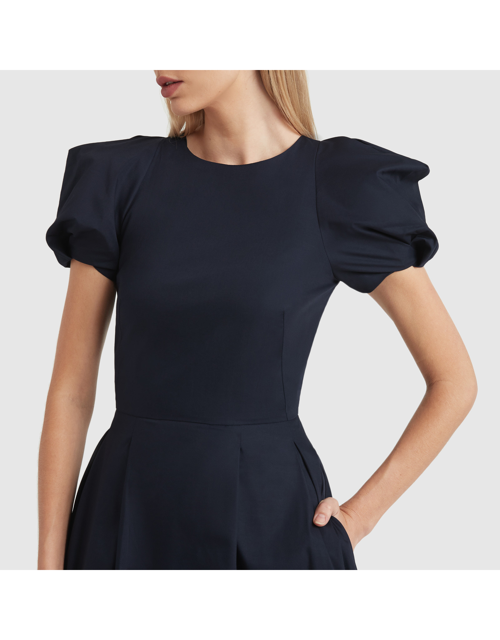 G. Label Elle Rounded Sleeve Mid Length Dress (Color: Navy, Size: 4)