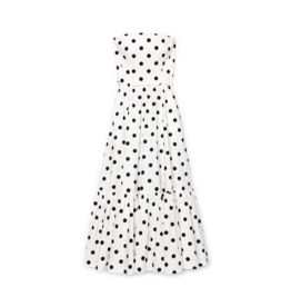 G. Label G. Label Zera Strapless Tiered Dress (Color: White & Black Dot Print, Size: 4)