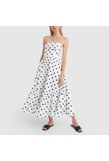 G. Label Zera Strapless Tiered Dress (Color: White & Black Dot Print, Size: 0)