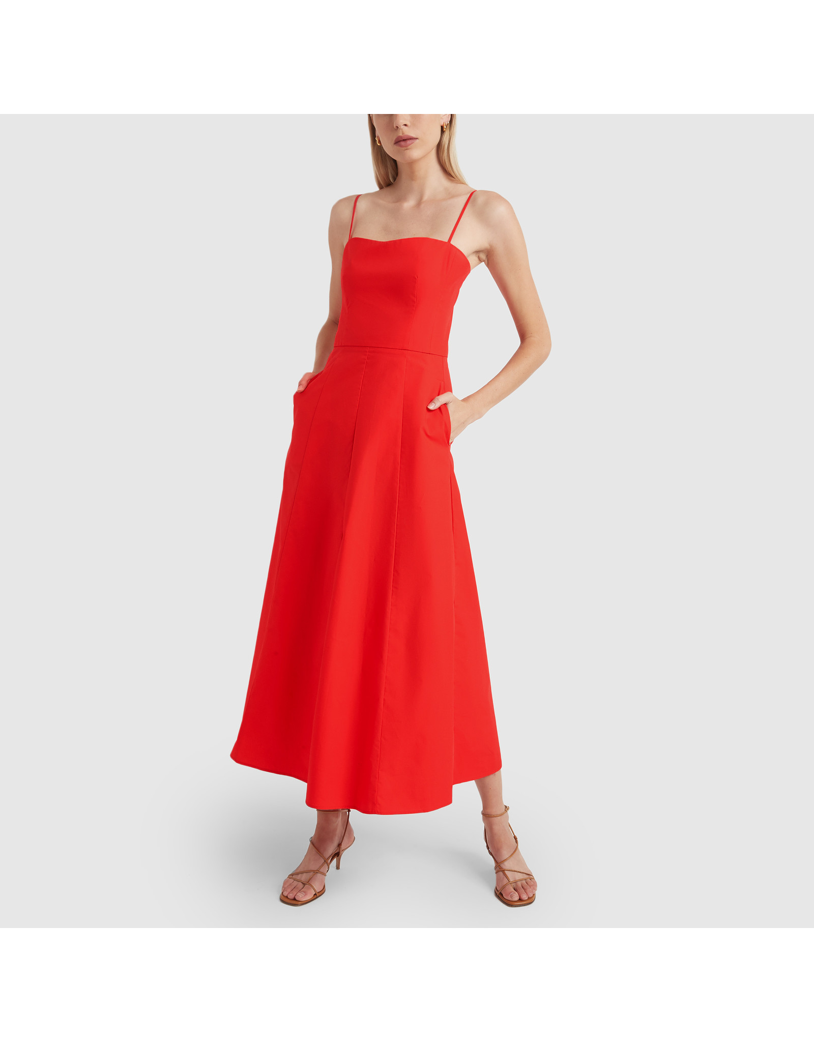 G. Label Cambria Skinny Strap Mid-Length dress (Color: Red, Size: 4)