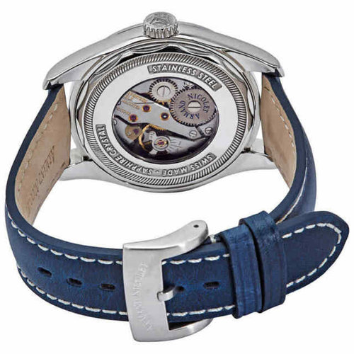 Armand Nicolet LB6 Blue Dial Men's Hand Wound Leather Watch