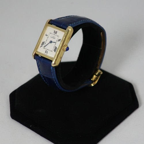 Cartier Ladies Tank Watch with Navy Deployant Band