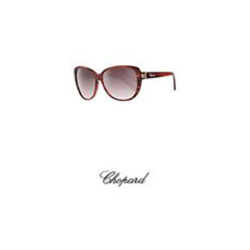 Chopard Brown & Gold Oval Jeweled Sunglasses