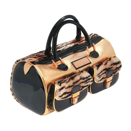 Chopard Faux Fur Gold Leather Handbag