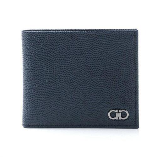 Men's Double Gancini Pebbled Leather Blue Wallet