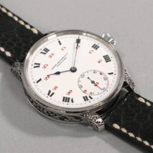 Patek Philippe Pre-1900 Signed and Numbered Movement with Enamel Dial & Custom Wristwatch Case