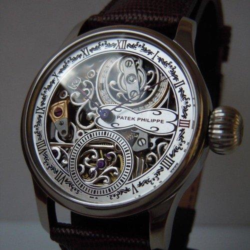 Patek Philippe 1873 Skeleton Engraving Men's Watch
