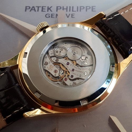 Patek Philippe Custom World Time Watch - Yellow Gilted Gold - Cal. 177 Movement with Original Solid Gold Buckle
