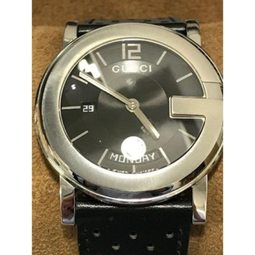 Gucci 101M Day and Date Watch with Black Leather Strap