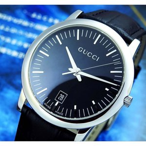 Gucci 5600M Black Dial Date Stainless Steel Quartz