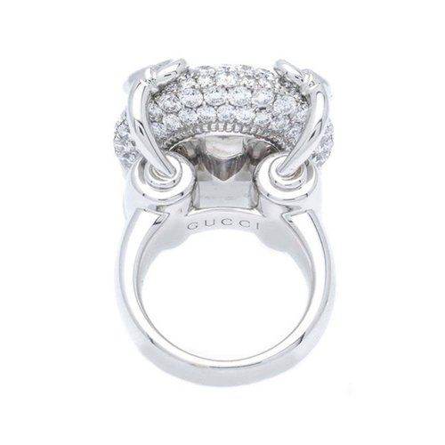 Gucci Horsebit 18kt. White Gold & Diamonds Cocktail Ring