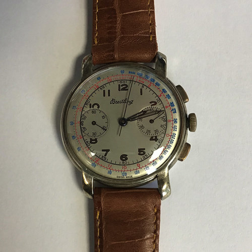 Breitling Tachometer with Brown Leather Strap