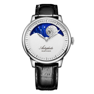 Aidophedo Large Moon Phase Men's Automatic Mechanical Watches Fashion Retro Sapphire Dial