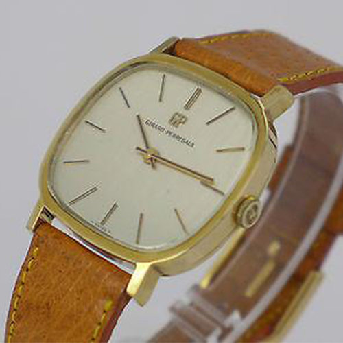 Girard-Perregaux Silver Dial Gold-Plated Manual Wind Deco Dress Watch