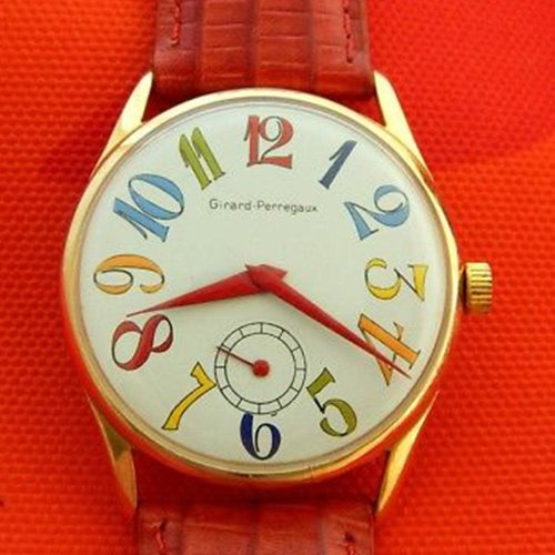 Girard-Perregaux Vintage Exaggerated Multicolored Numbers 35mm Gold Plated Case
