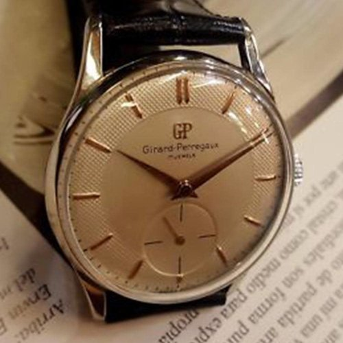 Girard-Perregaux Signed 1952 Vintage Watch with Exquisite Textured Dial and Gold Hands and Hour Markers