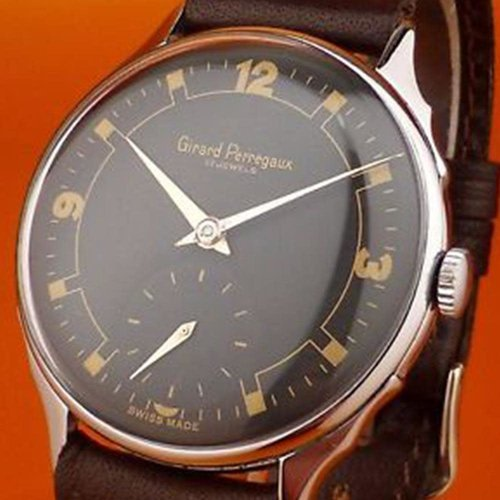 Girard-Perregaux Rare Circa 1950 Black Dial with Silver Hands and Gold Numbering