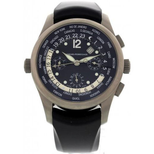 Girard-Perregaux World Time WW.TC Titanium Watch with Rubber Strap