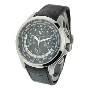 Girard-Perregaux World Time Chronograph Traveller Mens Automatic Steel on Black Crocodile Strap with Black Dial