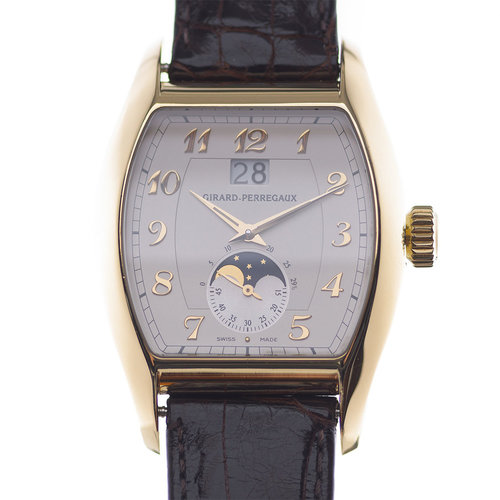 Girard-Perregaux Richeville 2760 Watch with Moon Phase Indicator Leather Bracelet and 18k Yellow Gold Bezel