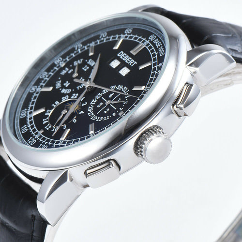 Debert Black Dial Date Day Moon Phase Multifunction Automatic Mens Watch 42mm