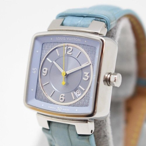 Louis Vuitton Speedy Tambour Ladies Watch with Stunning Dial and Light Blue Crocodile Band