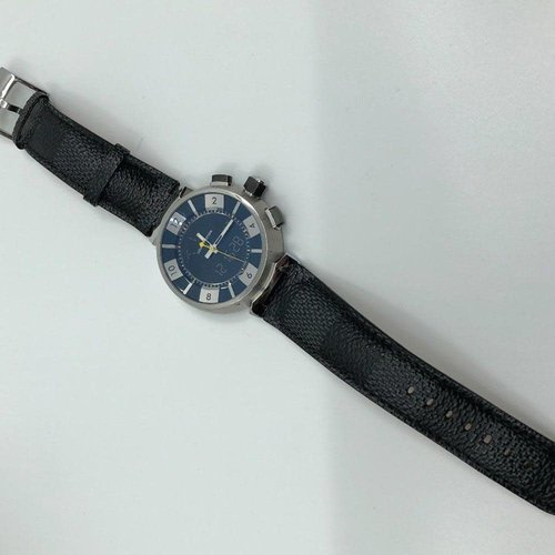 Louis Vuitton Elegant Tambour Blue Dial with Black Leather Band