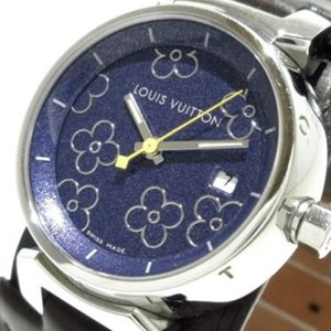 Louis Vuitton Ladies Diamond Tambour with Leather Band