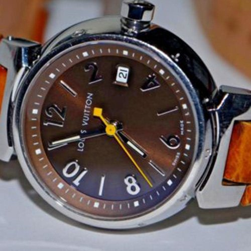 Louis Vuitton Tambour with Date & Leather Band