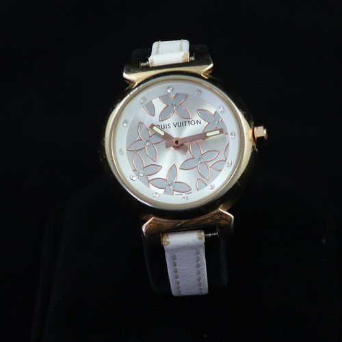 Louis Vuitton Tambour with Exquisite Rose Gold and White Flower Design on the Dial - Diamond Hour Markers - Gold Case with Thin White Leather Band