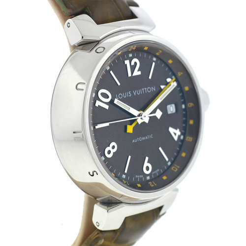 Louis Vuitton Tambour Stainless Steel Leather Strap Automatic Watch