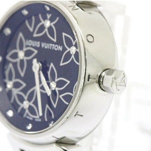 Louis Vuitton Ladies Diamond Tambour with Metal Bracelet