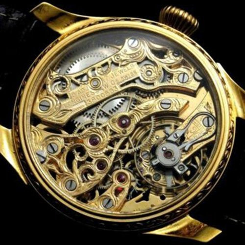 Longines Gold Skeleton Antique Wrist Watch
