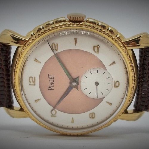Piaget Stunning 1945 Watch with Two-Tone Dial and Gold Filled Case