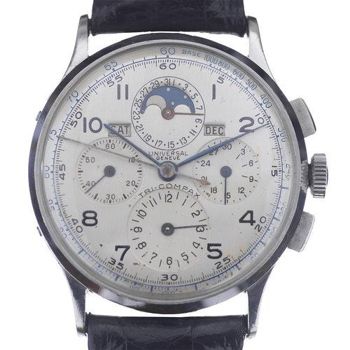 Universal Genève 1940's Tri-compax s/s Moonphase Chronograph
