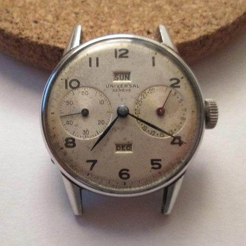Universal Genève 1940's Triple Calendar Steel Watch