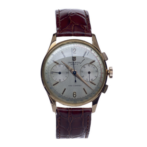 Universal Genève 1950's Chronograph 42411 Uni-Compax Silver Dial Plated Gold