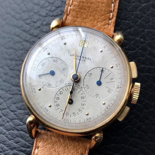 Universal Genève Compax Chronograph Watch in 14k Gold with Tear Drop Lugs