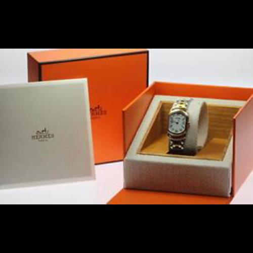 Hermès Larry RA1.240 White Dial Stainless / GP Quartz Ladies