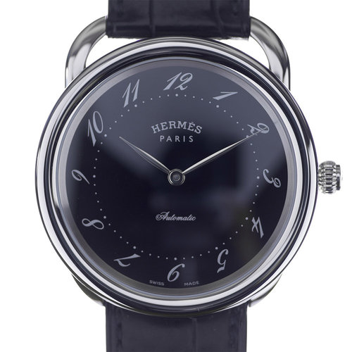 Hermès Arceau Automatic Black Dial 41mm Men's Leather Strap Watch AR7.710GI