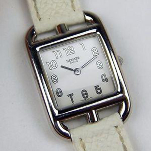 Hermès Cape Cod PM Ladies Stainless Steel with White Double Tour Strap