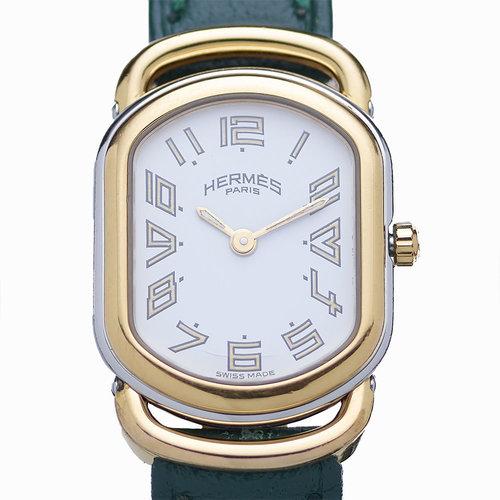 Hermès Authentic Hermes Rallye White Dial Leather Quartz Ladies