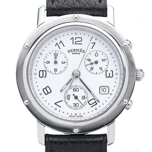 Hermès Clipper Chronograph Watch with Stainless Steel Case