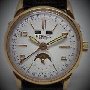 Hermès Paris Triple Date Moon Phase Hand Winding Vintage Watch