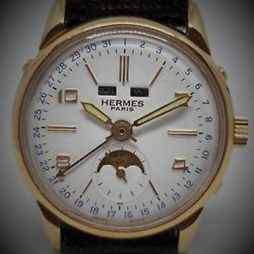 Hermès Paris Triple Date Moon Phase Hand Winding Vintage Watch