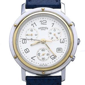 Hermès Clipper Chronograph Watch Steel & Gold