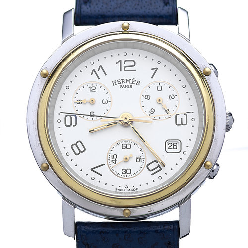 Hermès Clipper Chronograph Watch Steel & Gold