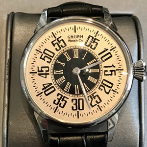 Gruen Gruen Watch with Steel Case and Black Leather Strap