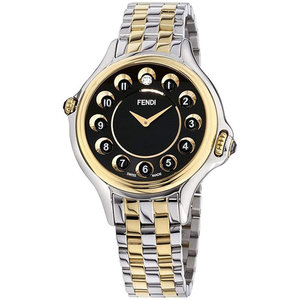 Fendi Crazy Carats Rolling Gemstones Two Tone Black Dial Ladies Watch