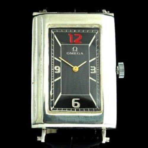 Omega Circa 1960 Vertical Rectangle Art Deco Silver Swiss Wristwatch